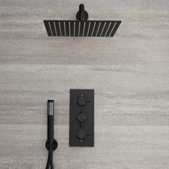 Milano Nero - Triple Thermostatic Shower Valve with 300 x 300mm Square Head and Hand Shower - Black