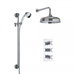 Milano Traditional Triple Thermostatic Valve, 150mm Head, Wall Arm and Slide Rail Kit
