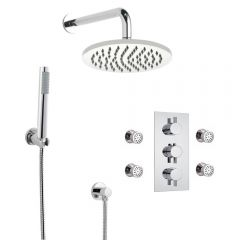 Milano Round Triple Diverter Thermostatic Valve, 200mm Head, Wall Arm, Handset and Body Jets