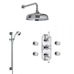 Milano Traditional Triple Diverter Thermostatic Valve, 200mm Head, Wall Arm, Slide Rail and Body Jets