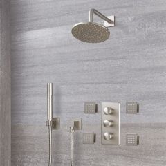 Milano Ashurst - Triple Diverter Thermostatic Valve, 200mm Round Head, Handset and Body Jets - Brushed Nickel