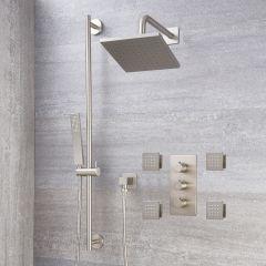 Milano Hunston - Triple Diverter Thermostatic Valve, Square Head, Slide Rail Kit and Body Jets - Brushed Nickel