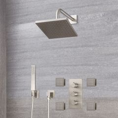 Milano Hunston - Triple Diverter Thermostatic Valve, Square Head, Handset and Body Jets - Brushed Nickel