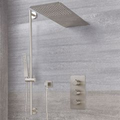 Milano Hunston - Triple Diverter Thermostatic Valve, Waterblade Head and Slide Rail Kit - Brushed Nickel