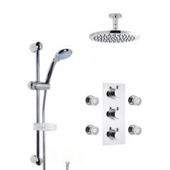 Milano Round Thermostatic Shower with Ceiling Mounted Head, Slide Rail Kit and Body Jets