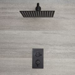 Milano Nero - Twin Thermostatic Shower Valve with 300 x 300mm Square Head and Arm - Black