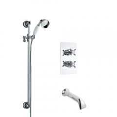 Milano Traditional Twin Diverter Thermostatic Shower Valve with Slide Rail Kit & Spout