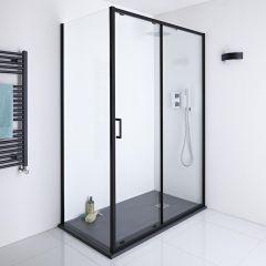 Milano Nero 1500mm Shower Sliding Door, 900mm Side Panel & Tray