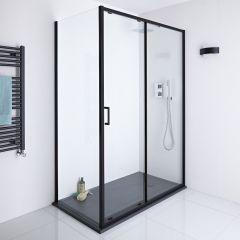 Milano Nero 1500mm Shower Sliding Door, 800mm Side Panel & Tray
