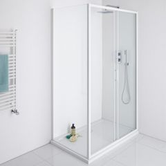 Milano Bianco 1100mm Shower Sliding Door, 760mm Side Panel & Tray