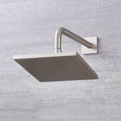 Milano 200mm Square Shower Head with Wall Arm - Brushed Nickel