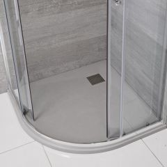 Milano Light Grey Slate Effect Quadrant Shower Tray 900mm