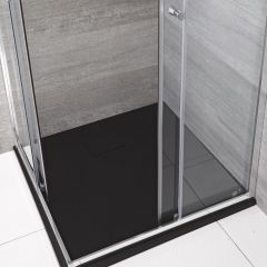 Milano Graphite Slate Effect Square Shower Tray 900mm