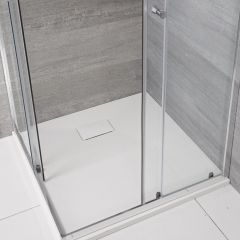 Milano Matt White Slate Effect Square Shower Tray 900mm