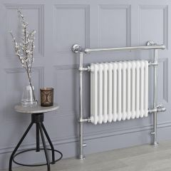 Milano Trent - White Traditional Electric Heated Towel Rail - 930mm x 790mm (With Overhanging Rail)
