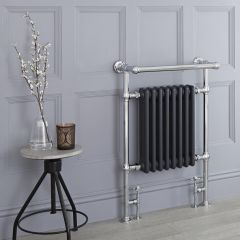Milano Trent - Anthracite Traditional Heated Towel Rail - 930mm x 620mm (With Overhanging Rail)