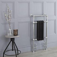 Milano Trent - Black Traditional Heated Towel Rail - 930mm x 450mm (Flat Top Rail)