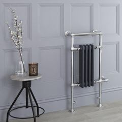 Milano Trent - Anthracite Traditional Electric Heated Towel Rail - 930mm x 450mm (Flat Top Rail)