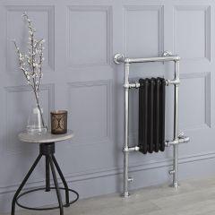 Milano Trent - Black Traditional Electric Heated Towel Rail - 930mm x 450mm (Flat Top Rail)