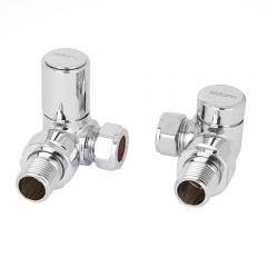 Milano Chrome Modern Radiator Valves - Corner Pair