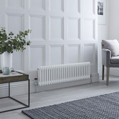 Milano Windsor - Traditional White Vertical Column Radiator - 300mm x 1193mm (Double Column)