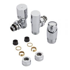 "Milano - Chrome 3/4"" Male Thread Valve With Chrome TRV - 16mm Copper Adapters"