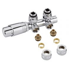 "Milano Chrome 3/4"" Male H Block Angled Valve with Chrome TRV Head & 16mm Multi Adaptors"