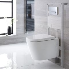 Milano Farington Wall Hung Toilet, Tall Wall Frame and Choice of Flush Plate
