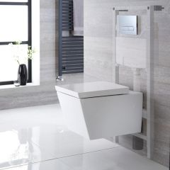 Milano Dalton Wall Hung toilet, Tall Wall Frame and Choice of Flush Plate