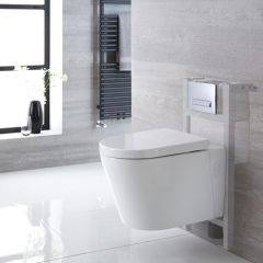 Milano Farington Wall Hung Toilet, Short Wall Frame and Choice of Flush Plate