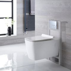 Milano Elswick Wall Hung Toilet, Short Wall Frame and Choice of Flush Plate
