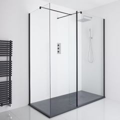 Milano Nero Corner Walk-In Shower Enclosure (1400 x 900mm) - Inc. Slate Tray & Return Panel