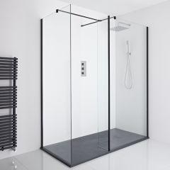 Milano Nero Corner Walk-In Shower Enclosure (1700 x 900mm) - Inc. Slate Tray & Return Panel