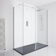 Milano Portland Corner Walk-In Shower Enclosure (1700 x 900mm) - Inc. Slate Tray & Return Panel
