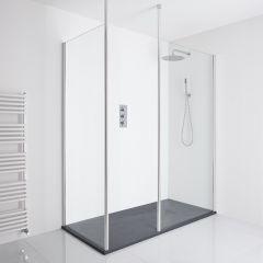 Milano Alto Corner Walk-In Shower Enclosure (1400 x 800mm) - Inc. Slate Tray