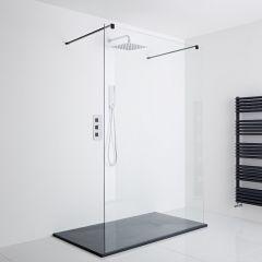 Milano Nero Floating Walk-In Shower Enclosure (1200 x 900mm) - Inc. Slate Tray