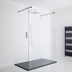 Milano Nero Floating Walk-In Shower Enclosure with Slate Effect Tray (1400 x 800mm)