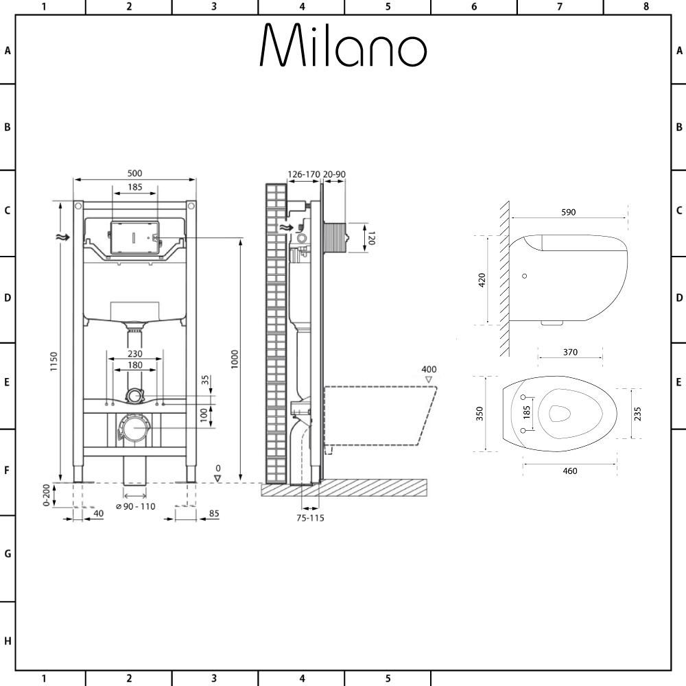 Milano Mellor White Modern Wall Round Hung Toilet With