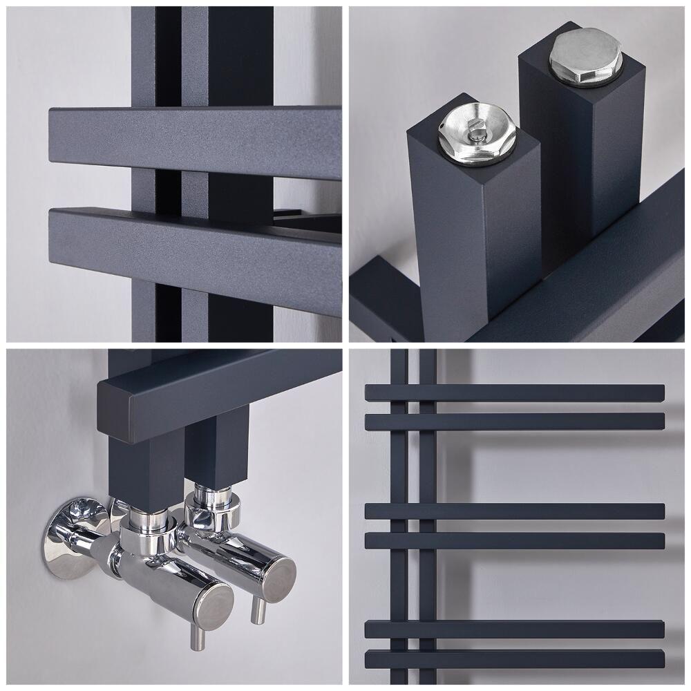 Milano Pars - Aluminium Anthracite Designer Heated Towel ...