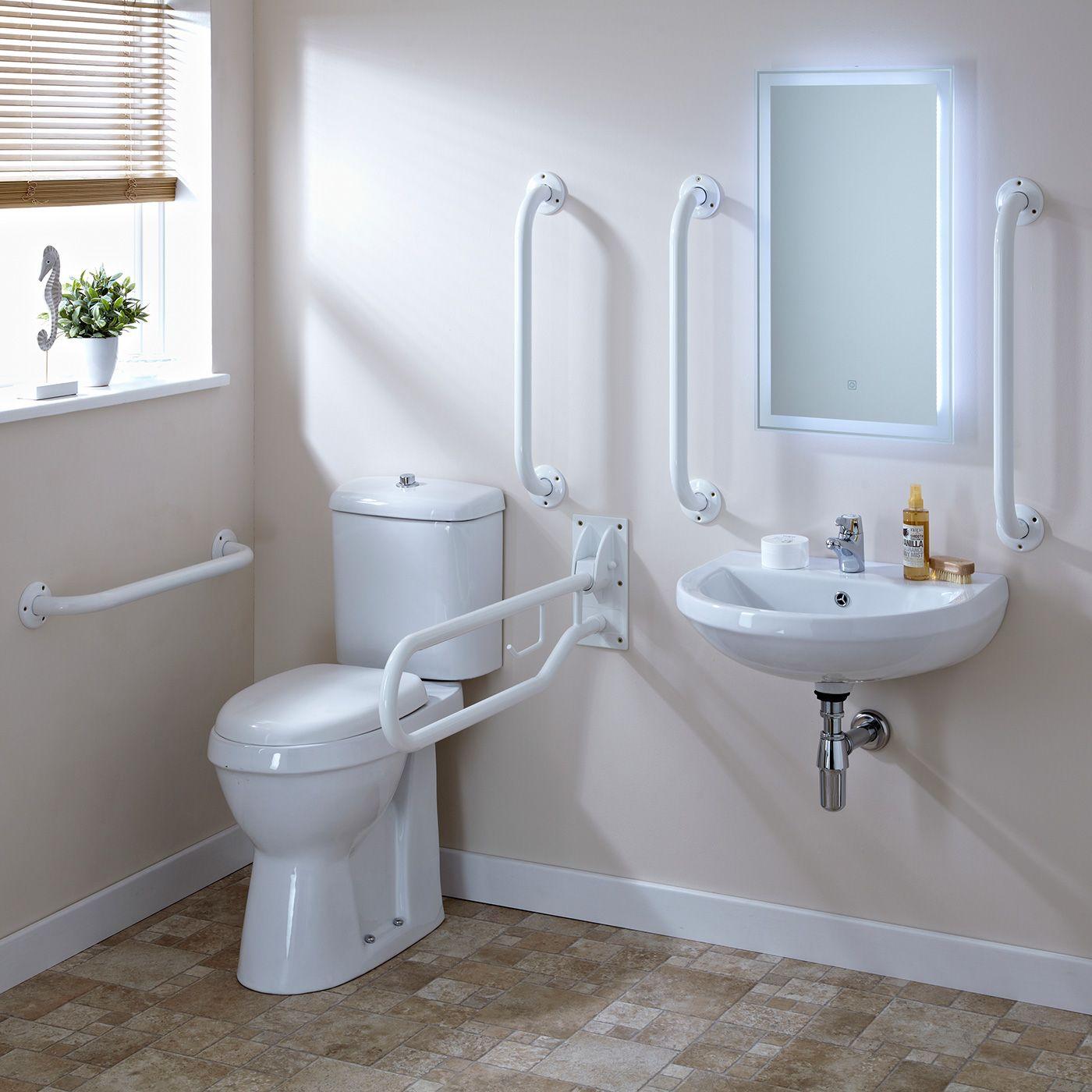 Premier White Doc M Pack Disabled Bathroom Toilet, Basin and Grab Rails