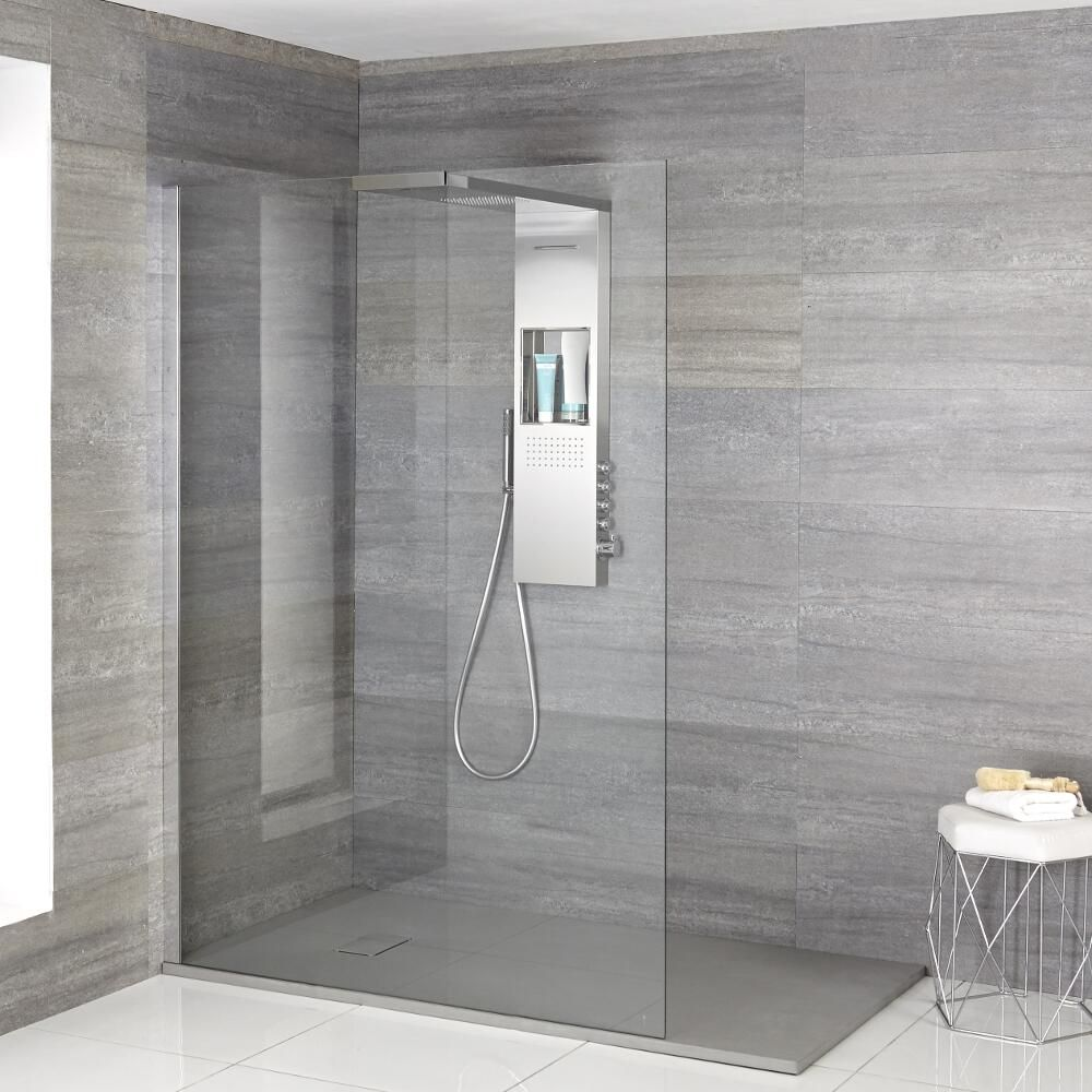 Milano Vaso Complete Walk In Shower Enclosure With Grey