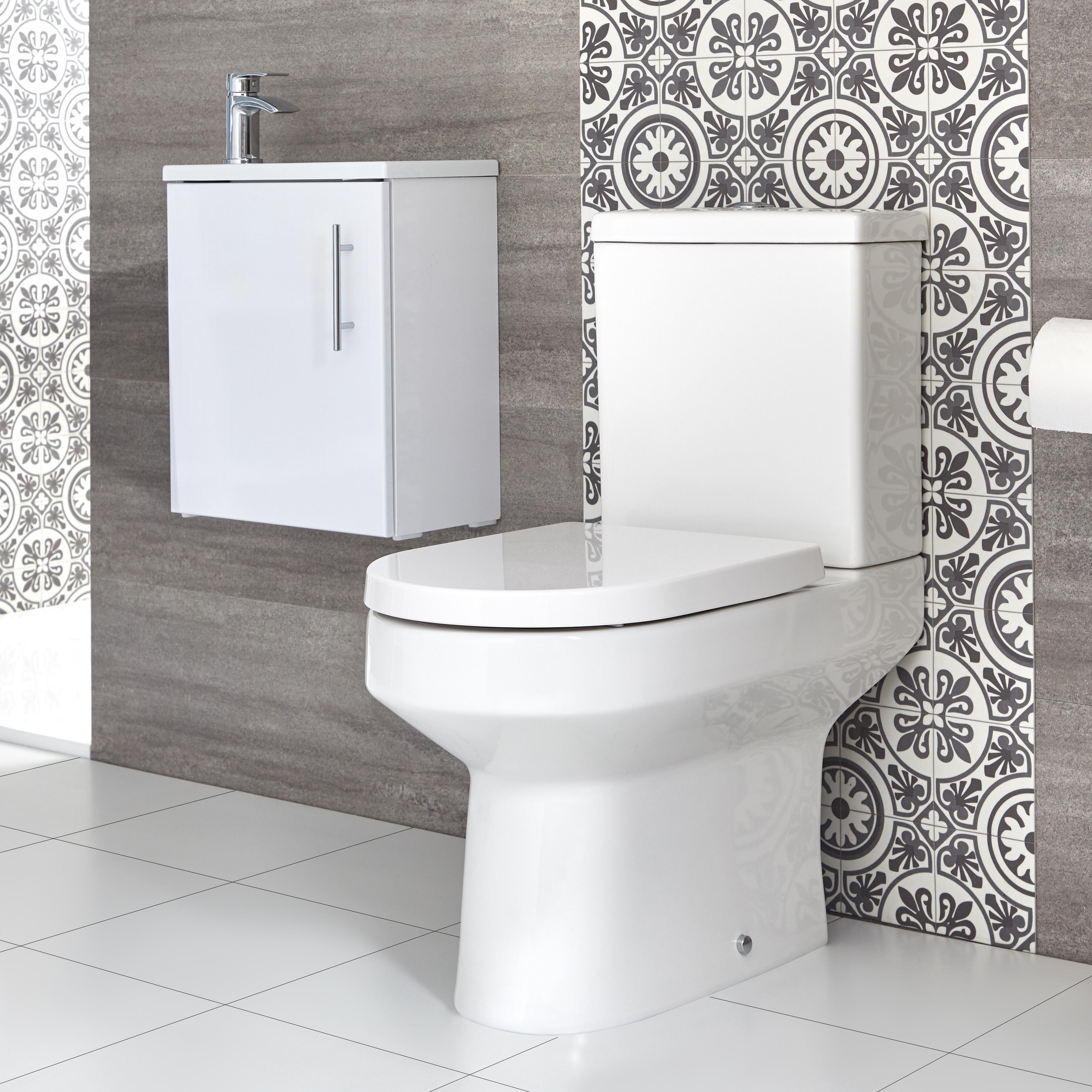 Milano Ballam Close Coupled Toilet And 400mm Wall Hung Vanity Unit With Slimline Basin Choice Of Finish