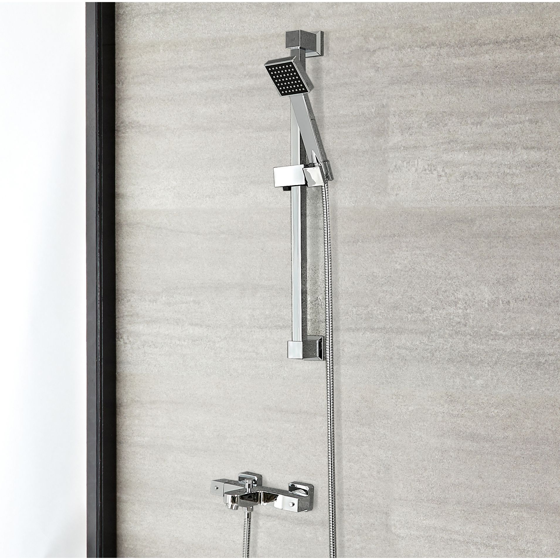 Milano Arvo Modern Thermostatic Bath Shower Mixer With Hand Shower Slide Rail Kit Chrome