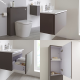 Milano Oxley - Grey 600mm Vanity Unit with Basin, WC Unit, Back to Wall Pan, Storage Unit and Mirror