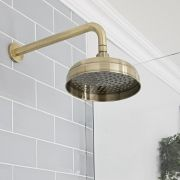 Milano Elizabeth - Brushed Gold 200mm Traditional Apron Shower Head and Wall Arm