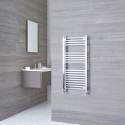 Kudox - Chrome Square Bar on Bar Heated Towel Rail - 974mm x 450mm
