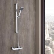 Milano Arvo - Modern Thermostatic Square Bar Shower Valve with Hand Shower and Slide Rail - Chrome