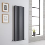Milano Aruba Aiko - Anthracite Vertical Designer Radiator - 1400mm x 472mm (Double Panel)