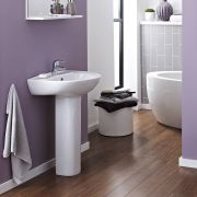 Milano Irwell - 550mm Basin with Full Pedestal - 1 Tap-Hole