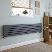 Milano Capri - Anthracite Flat Panel Horizontal Designer Radiator - 354mm x 1600mm (Double Panel)